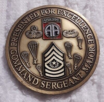 82ND AIRBORNE DIVISION Command Sergeant Major Army Challenge Coin