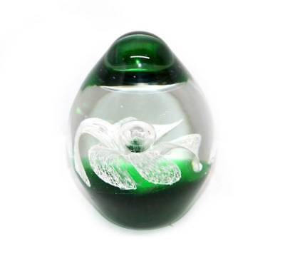 Vintage dark green & white flower controlled bubble heavy glass paperweight