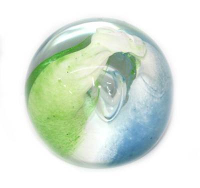 Vintage large green white & blue wave bubble heavy glass paperweight