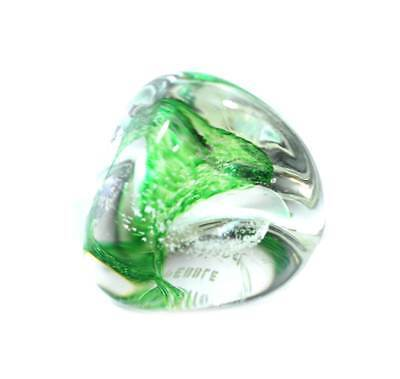 Vintage green & clear Caithness Pebble solid glass paperweight
