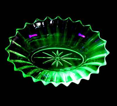 Vintage starburst oval green uranium glass large bowl with uv glow