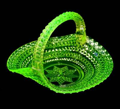 Vintage citrine uranium glass handled basket bowl in lovely condition