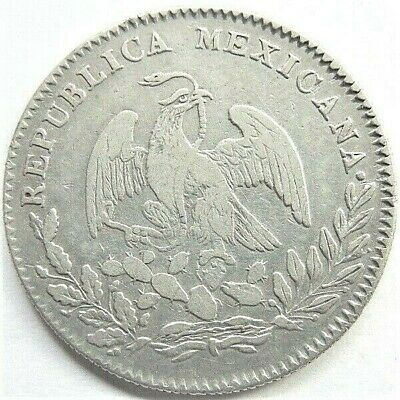 1844Go PM  MEXICO First Republic, 4 REALES grading Good FINE. Scarce date.