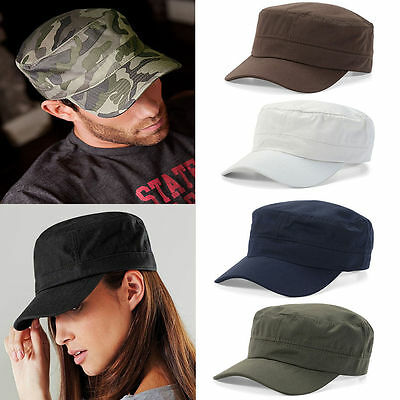 MENS WOMENS SUMMER Army Plain Hat Military Cadet Adjustable