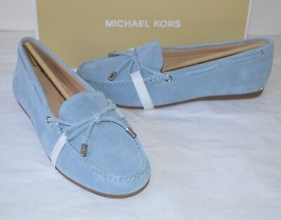 8c9c85f046db New $99 Michael Kors Sutton Moc Powder Blue Suede Loafer Bow Flat MK Fulton