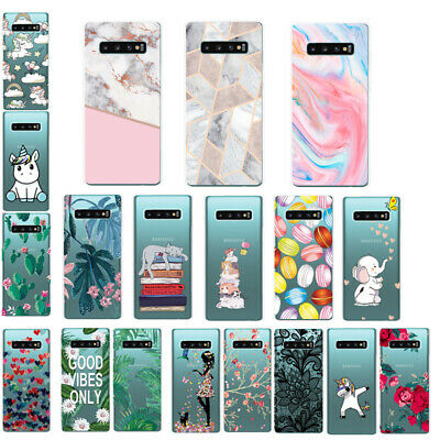 Slim Thin Cute Patterned Clear Soft TPU Case Cover For Samsung S10e S10+ M10 A50