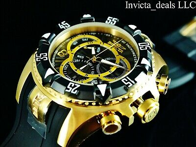 Invicta Men's 52mm Excursion  Swiss Chronograph Black Dial 18K Gold Plated Watch