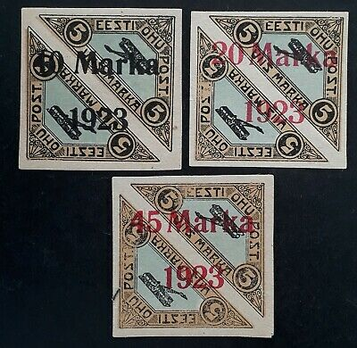 RARE 1923 Estonia 3 pairs of Airmail imperf stamps with surcharges & O/Ps Mint