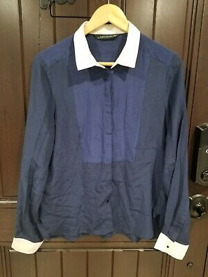 606b8f6ede086 Zara Woman Mulberry Silk Navy Blue Button Front Long Sleeve Blouse Top  Collared