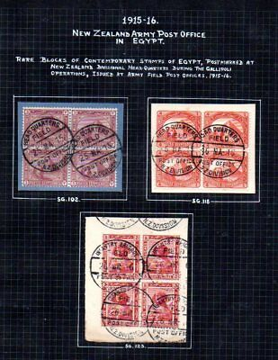 Egypt: 1915-6 NZ Army POs in Egypt 4-blocks (3) used with NZ FPO cds