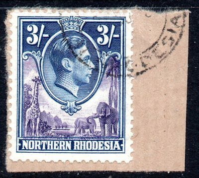 Northern Rhodesia: 1938 KGVI 3/- SG 42 used on piece