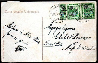 Egypt: 1923 Monarchy ovpt 4m. bisect on ppcd to Napoli from Alexandria