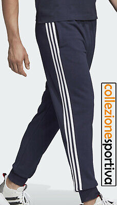 PANTALONE UOMO ADIDAS ESSENTIALS 3 STRIPES CUFFED PANTS - DU0478 col. blu/bianco