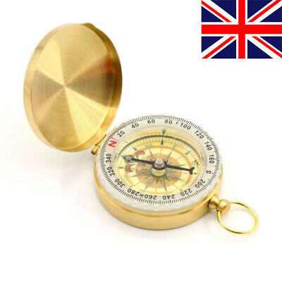 Vintage Brass Noctilucent Pocket Shine Compass Hiking Camping Watch Style Retro