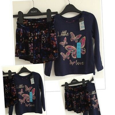 Next Girls Floaty Velvet Winter Shorts & Butterfly Top Outfit 3-4 Years