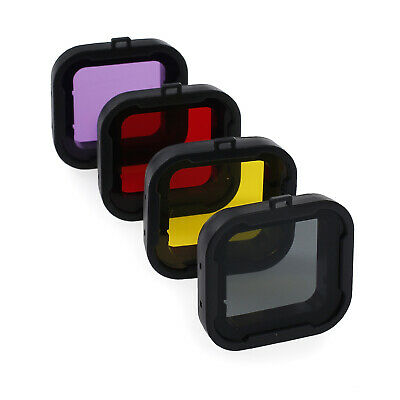 4PCS Diving Lens Filter Red Purple Gray Yellow For GoPro Hero 4 3+ Underwater US