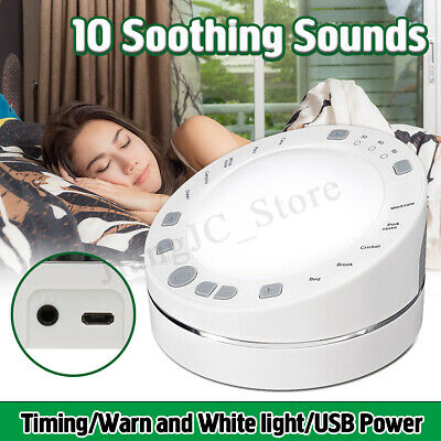 Deep Sleep Machine White Noise Baby Therapy Solution Timing 10 Nature Sound LED