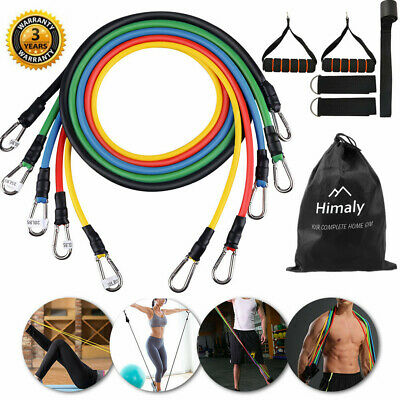 11Pcs Resistance Bands Workout Exercise Yoga Crossfit Fitness 5 Tubes Pull Rope