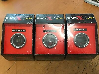 3x Race X Gauges 1x Oil Pressure 1x Water Temp 1x Oil Temp BRAND NEW