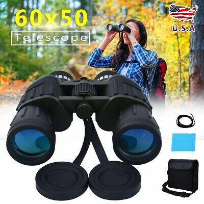 60x50 Zoom Day Night Vision Outdoor Travel Binoculars Hunting Telescope+Case HD
