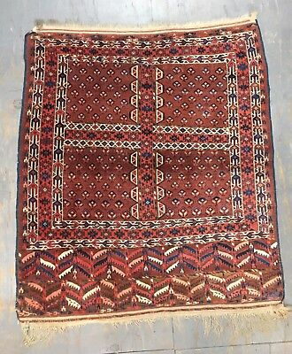 ca.1900 Collectable Old Antique  Handmade Turkomen Yomut Ensi Rug 5.8x5 Ft
