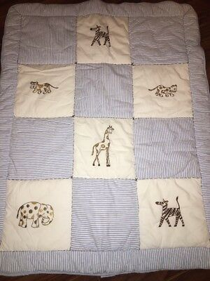 Quilted Patchwork Baby Blanket White Blue Stripes Jungle Animals Embroidered