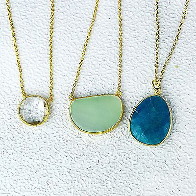 Blue Aventurine, Chalcedony,Clear Quartz 3 Necklace 925 Sterling Silver jewelry
