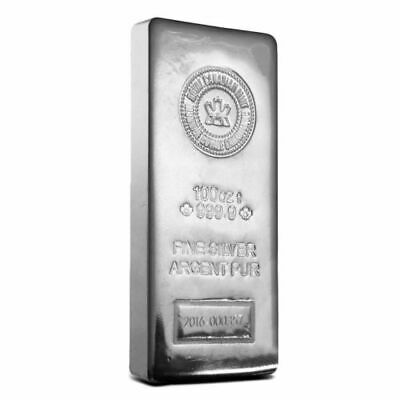 Royal Canadian Mint (RCM) 100 oz .9999 Fine Silver Bar/Ingot