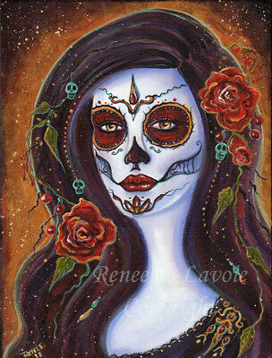 Original 9 x12 acrylic on stretched canvas day of the dead girl BY RENEE  LAVOIE