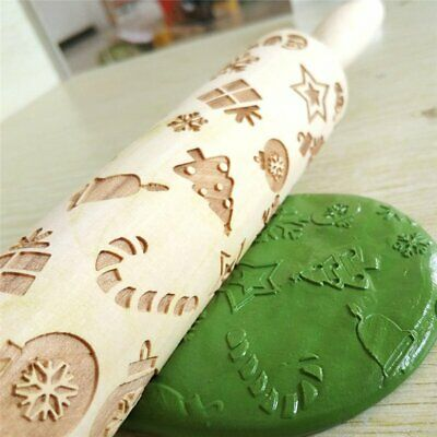 Christmas Embossing Wooden Rolling Pin Fondant Cake Decoration Dough RollH4