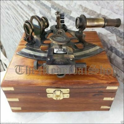 Antique Brass Nautical Sextant Navigational Instrument Marine With Wooden Box