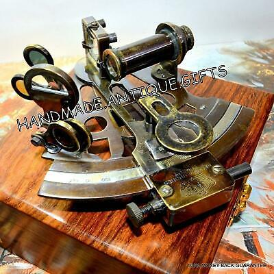 Brass Ship Sextant With Wooden Box Working Astrolabe Nautical Marine Instrument