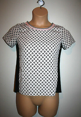 Womens MOA MOA Black/ Taupe Pink Printed Cap Short Sleeve Top Small S
