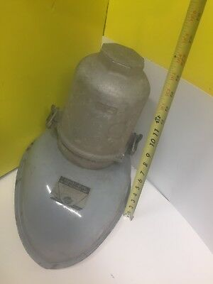 Vintage Wheeler Boston Oval  Industrial Grey Enamel Porcelain Light