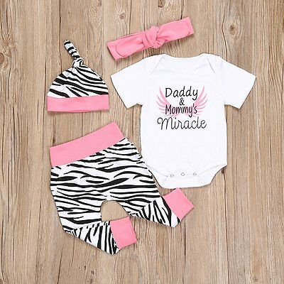 4PCS Newborn Infant Baby Boy Girl Romper Bodysuit Jumpsuit+Pants+Hat Outfits Set