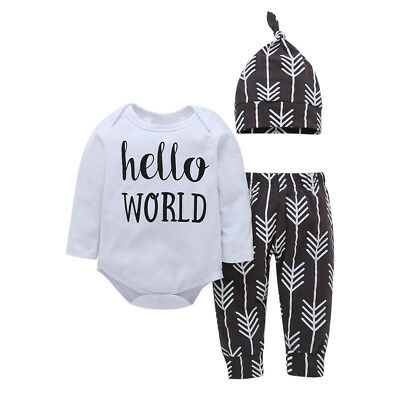 3PCS Newborn Kid Baby Boy Girl Outfit Clothes Romper Jumpsuit+Long Pants Hat Set