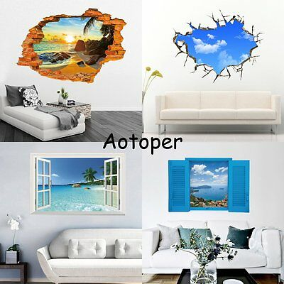 Removable 3D Wall Stickers Vinyl Decals Art Mural Home Living Room Window Decor
