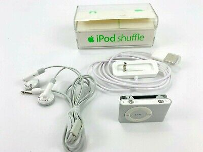Apple iPod Shuffle 2nd Generation A1204 Silver 1 GB w/ Charging Port & Earphones