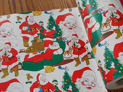 Vtg Christmas Dept. Store Wrapping Paper 2 Yards Gift Wrap Santa Claus Post Ww2