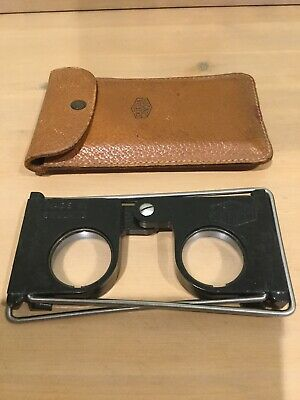 Vintage Casella London Folding 3D Viewer In Metal With Leather Case