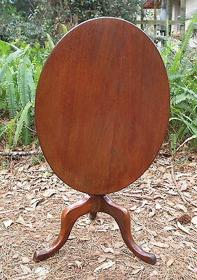 Small Antique Tilt-top Accent Side Table Queen Anne, mahogany, snake ft, tip-top