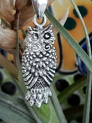 Sterling Silver Great Horned Owl Pendant with  Italian Snake Chain