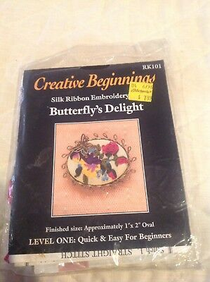 Creative Beginnings Silk Ribbon Embroidery Kit   Butterfly's Delight Brooch