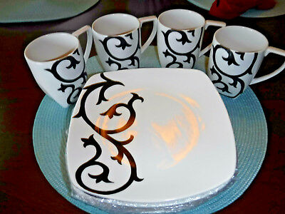 Black White Coffee Mugs Plates 4 Each BlackScroll Square Porcelain  GUC