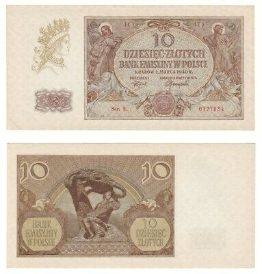 POLAND 10 Zlotych Banknote (1940) P.94 - UNC.