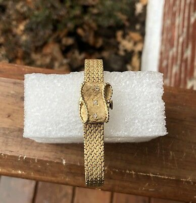 GENEVE Incabloc Solid 14K Yellow Gold & Diamond Flip Top Ladies Wristwatch