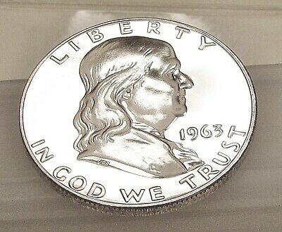 1963  Franklin  Proof   90%  Silver  > Blazing  Mirrored  Surfaces  <  #302  11