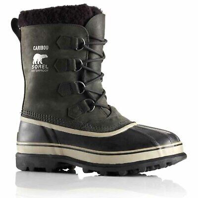 Sorel Mens Caribou Waterproof Boots New Without Box (Black/Tusk, 8)
