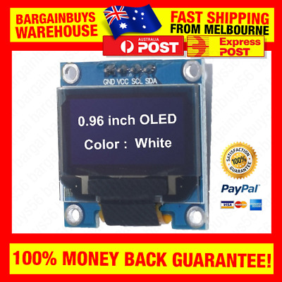 "128X64 White OLED Display Module 0.96"" IIC I2C Screen suits Arduino ESP8266 Pi"