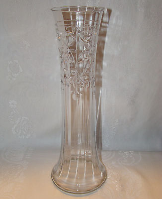 Antique Hand Blown Crystal Art Deco Style Cut Cherries Design Optic Panel Vase